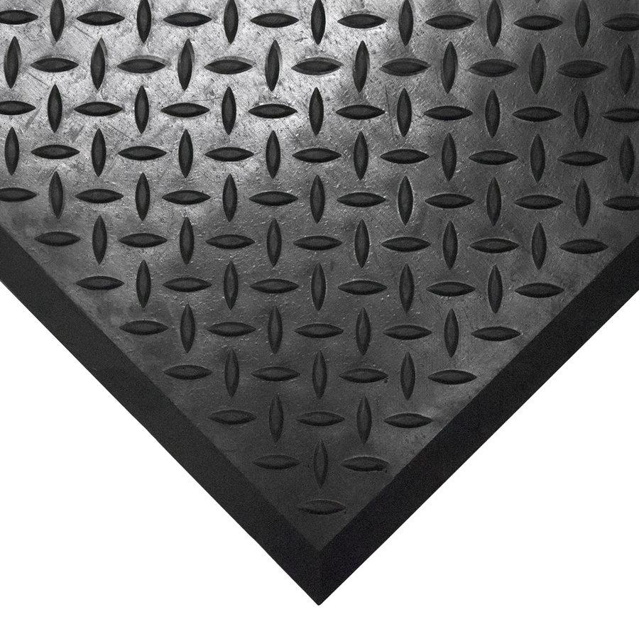 Černá gumová průmyslová protiskluzová rohož (25% nitrilová pryž) Comfort-Lok - délka 70 cm, délka 80 cm a výška 1,25 cm
