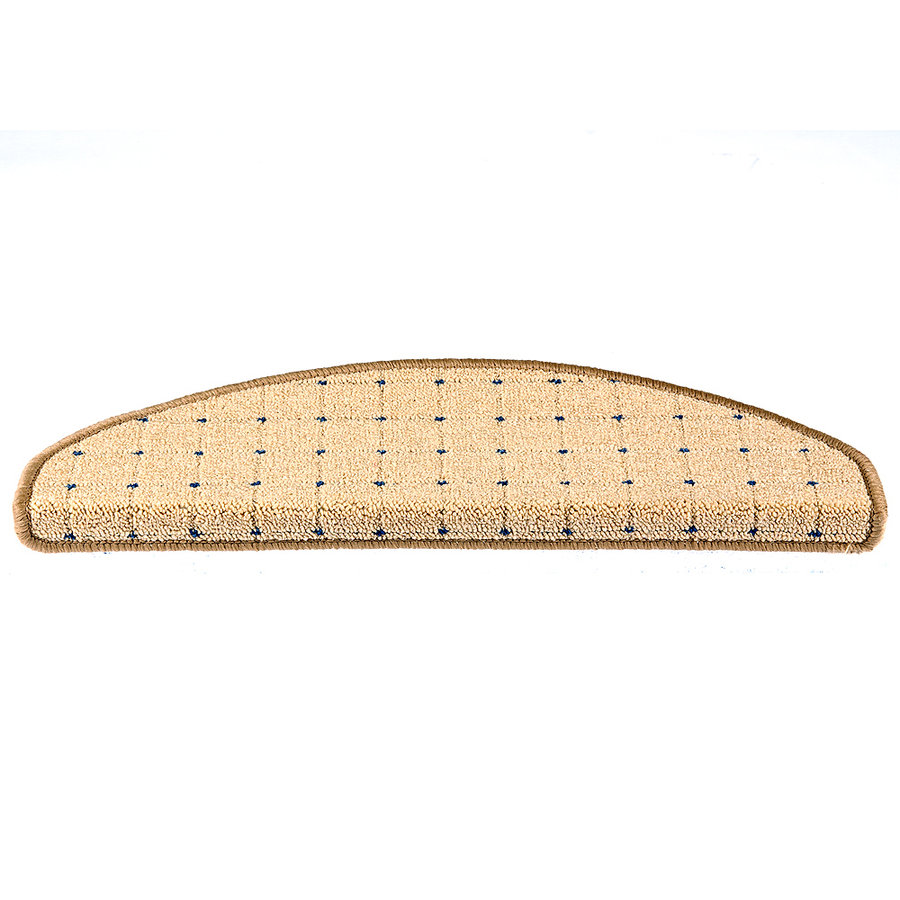 Béžový kobercový půlkruhový nášlap na schody Udinese - délka 24 cm a šířka 65 cm