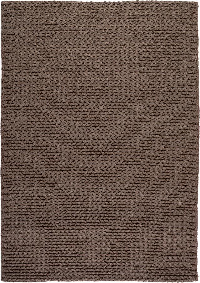 Hnědý vlněný kusový koberec Linea