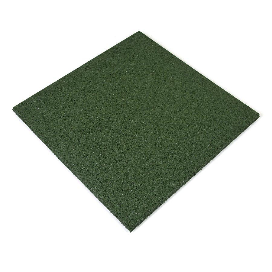 Zelená gumová dlaždice - délka 50 cm, šířka 50 cm a výška 2,5 cm