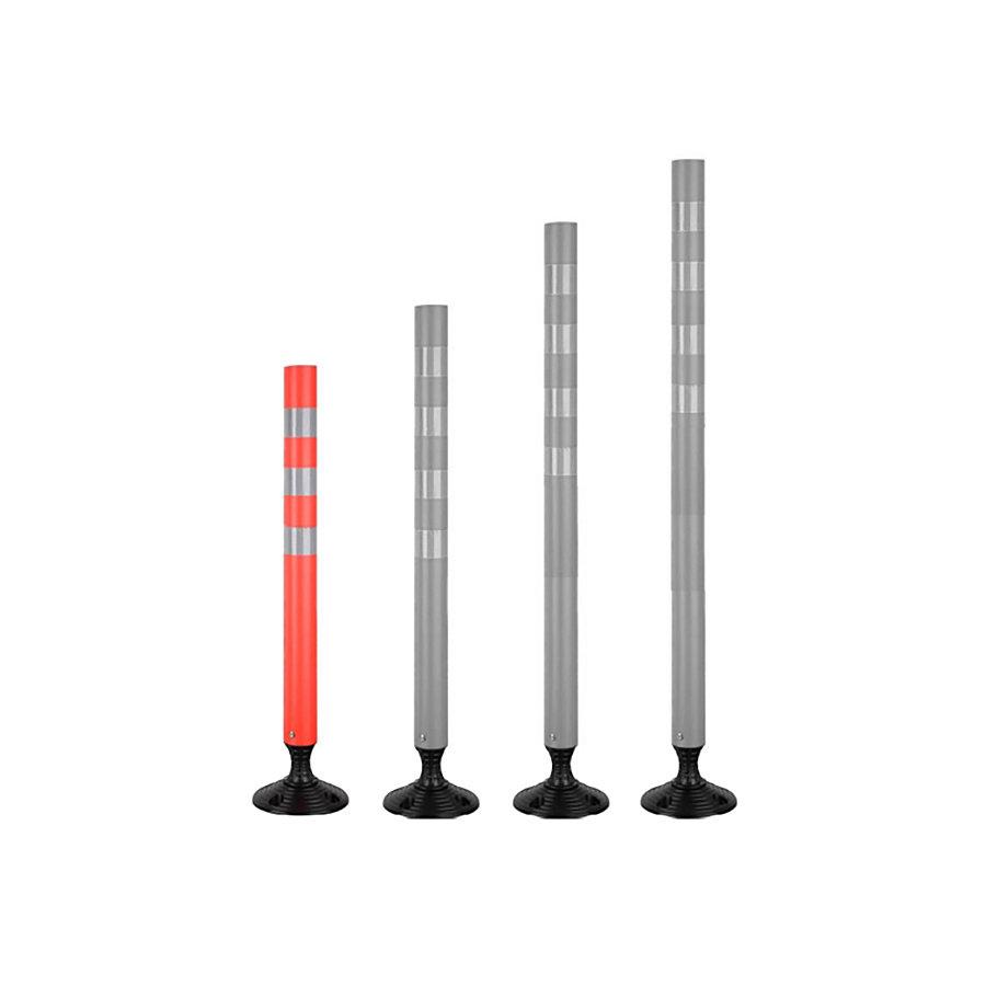 Oranžový plastový samonarovnávací reflexní dopravní sloupek - průměr 7 cm a výška 90 cm