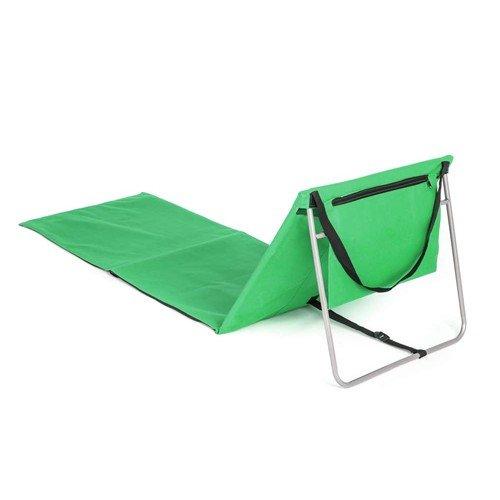 Zelené plážové skládací lehátko s ocelovou konstrukcí - délka 160 cm a šířka 54 cm