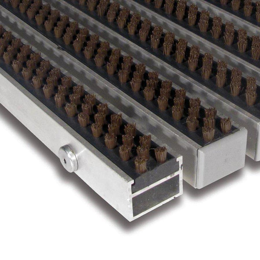Hnědá hliníková čistící vnitřní vstupní rohož Alu Super - délka 90 cm, šířka 60 cm a výška 2,7 cm