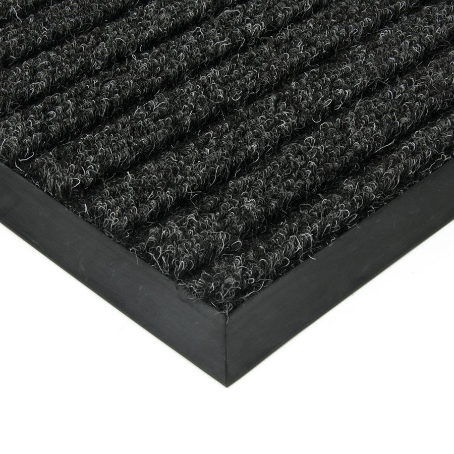 Černá textilní vstupní vnitřní čistící zátěžová rohož Shakira, FLOMAT - délka 80 cm, šířka 120 cm a výška 1,6 cm