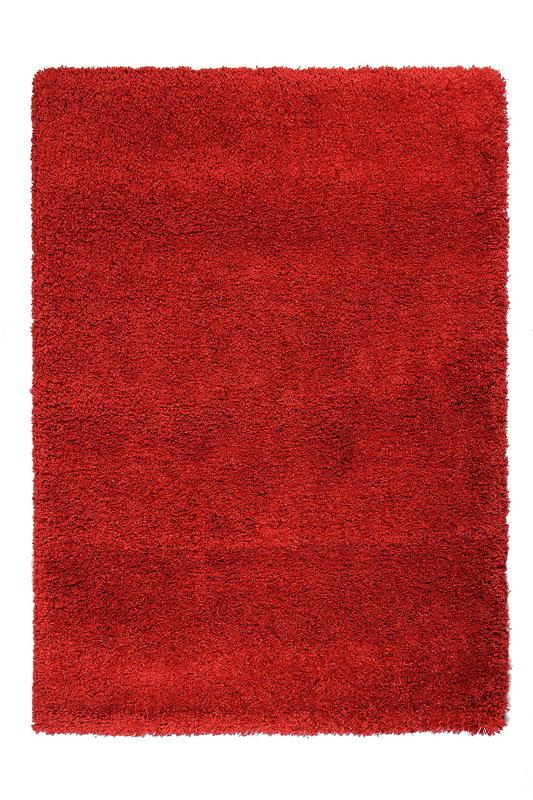 Červený kusový koberec Shaggy s vysokým vlasem