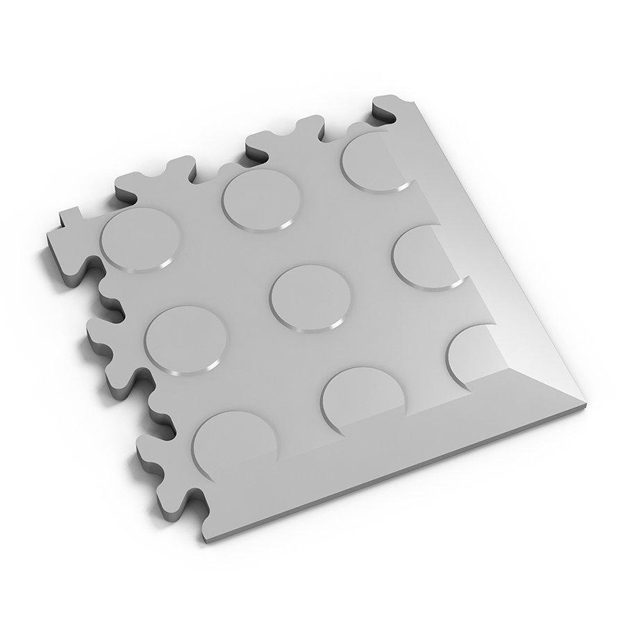 Šedý vinylový plastový rohový nájezd 2046 (penízky), Fortelock - délka 14 cm, šířka 14 cm a výška 0,7 cm