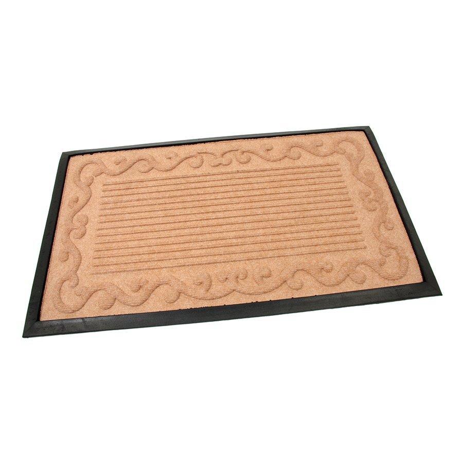 Béžová textilní gumová vstupní čistící rohož Stripes - Deco, FLOMAT - délka 45 cm, šířka 75 cm a výška 0,8 cm