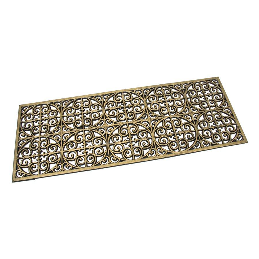 Zlatá gumová čistící venkovní vstupní rohož Circles - Deco, FLOMAT - délka 120 cm, šířka 45 cm a výška 0,9 cm