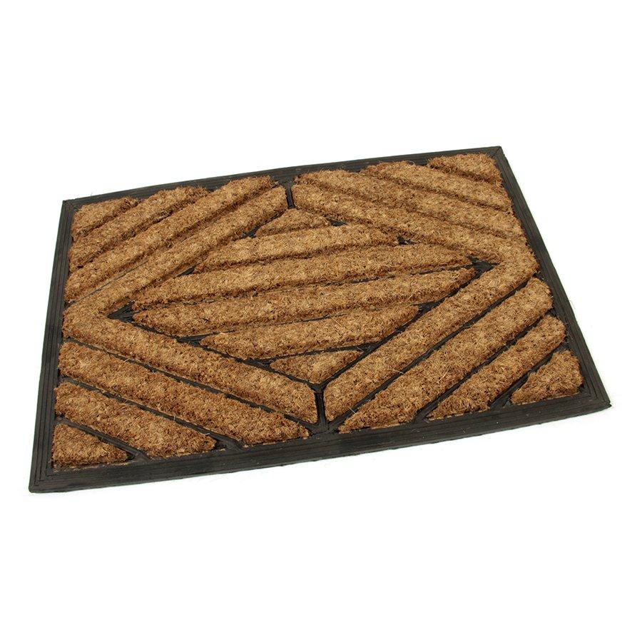 Kokosová čistící venkovní vstupní rohož Rectangle - Stripes, FLOMAT - délka 40 cm, šířka 60 cm a výška 2,2 cm