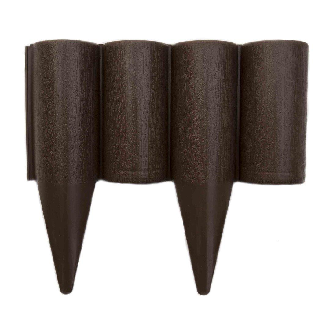 Hnědý plastový palisádový zahradní obrubník FLOMA Wood - délka 25 cm a výška 12,5 cm