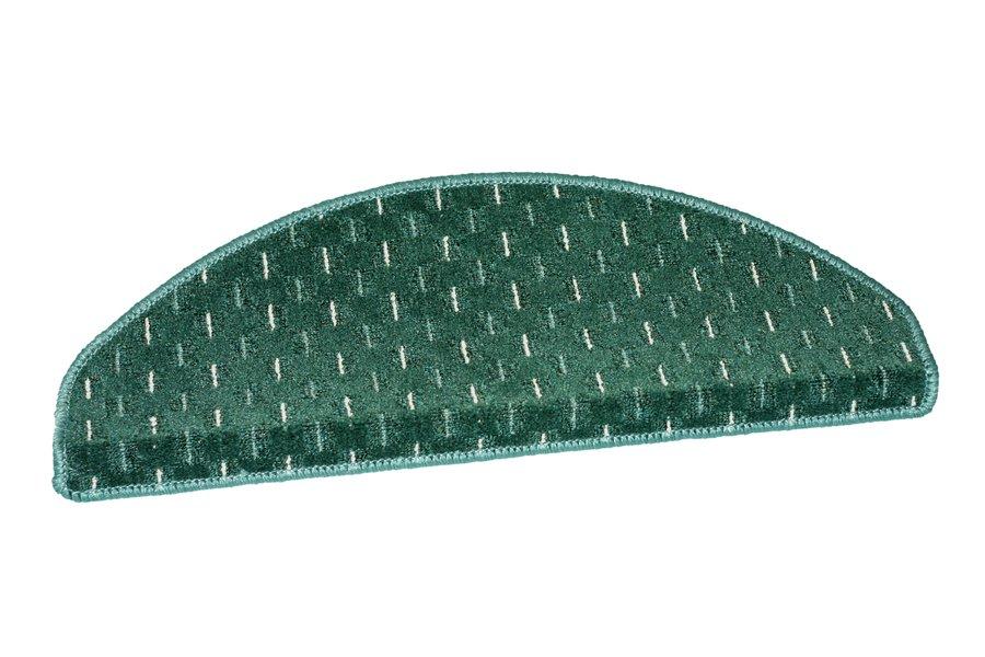 Zelený kobercový půlkruhový nášlap na schody Odessa - délka 28 cm a šířka 65 cm