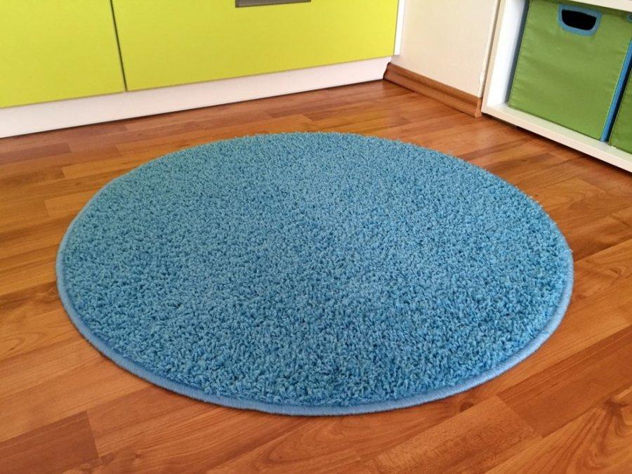 Modrý kusový koberec Shaggy - průměr 100 cm