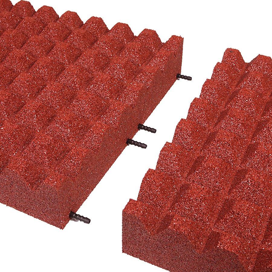 Červená gumová dlaždice (V100/R28) - délka 50 cm, šířka 50 cm a výška 10 cm
