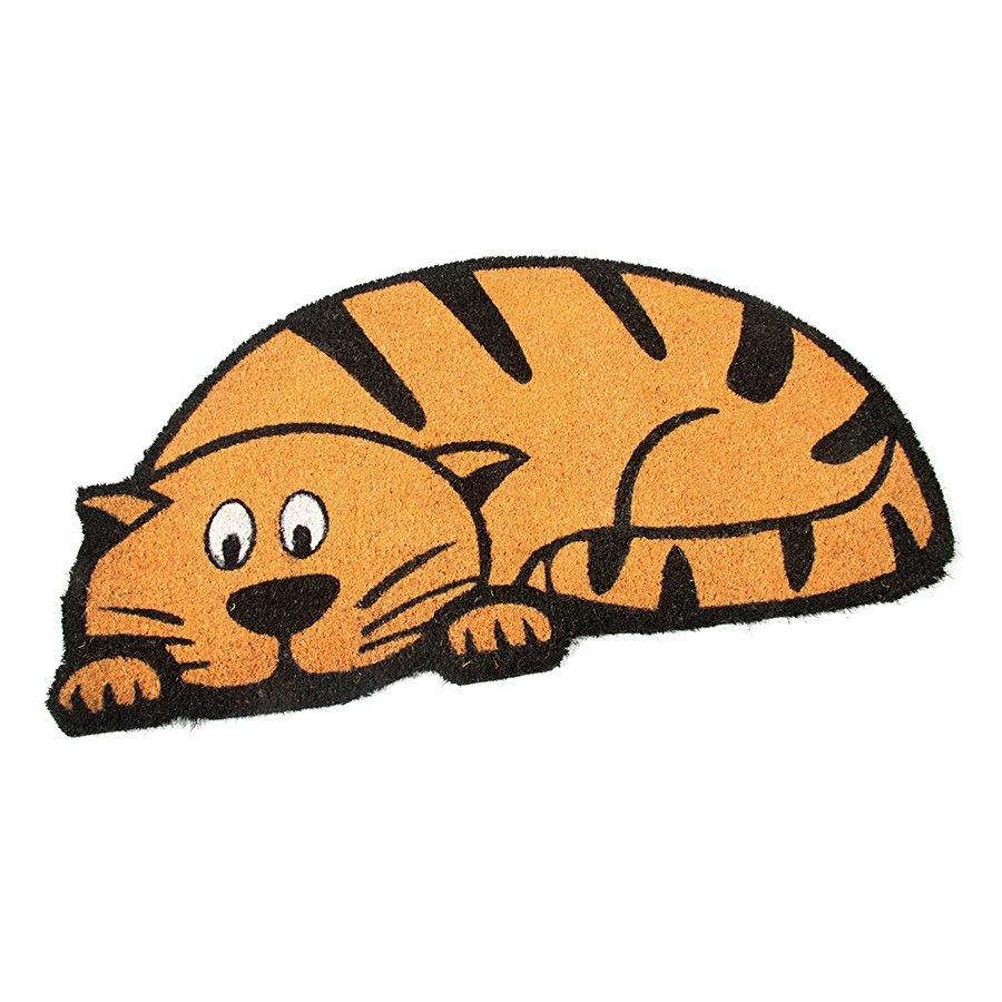 Kokosová čistící venkovní vstupní rohož Cute Cat, FLOMAT - délka 75 cm, šířka 45 cm a výška 1,7 cm