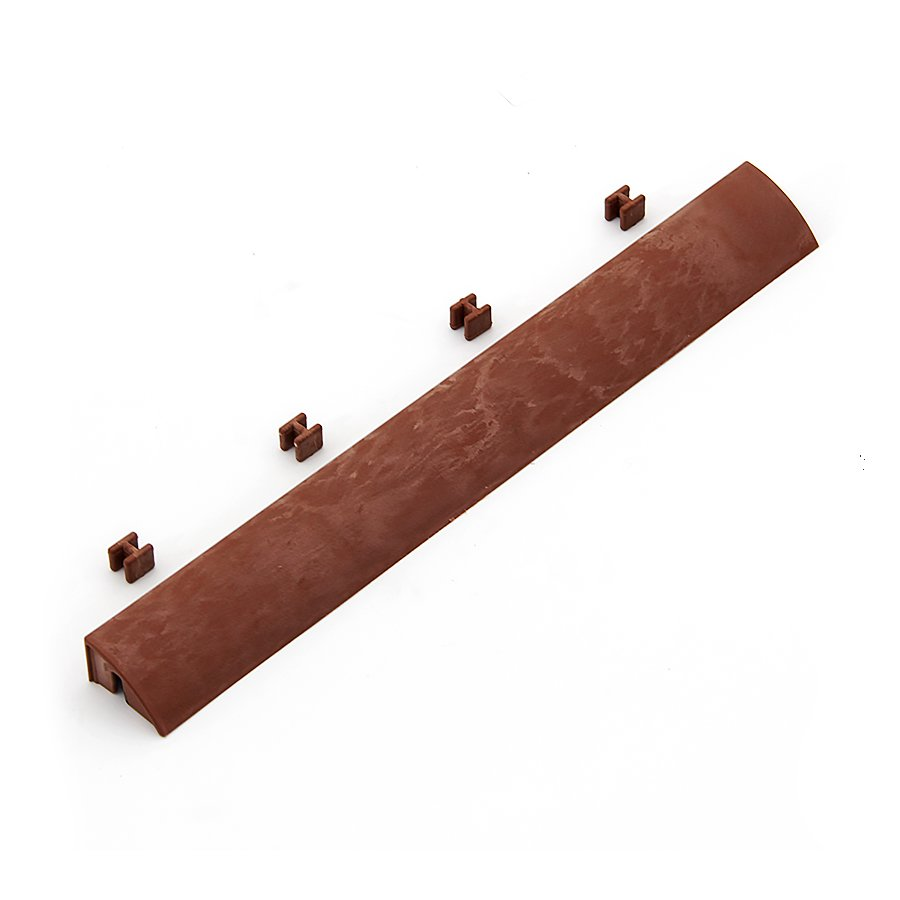 Hnědý plastový nájezd pro terasové dlaždice Linea Easy - délka 39 cm, šířka 4,5 cm a výška 2,5 cm