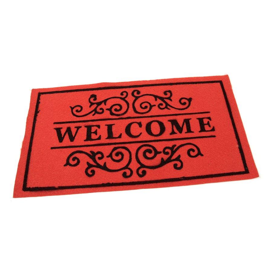 Červená textilní vstupní čistící vnitřní rohož Welcome - Deco, FLOMAT - délka 33 cm, šířka 58 cm a výška 0,3 cm