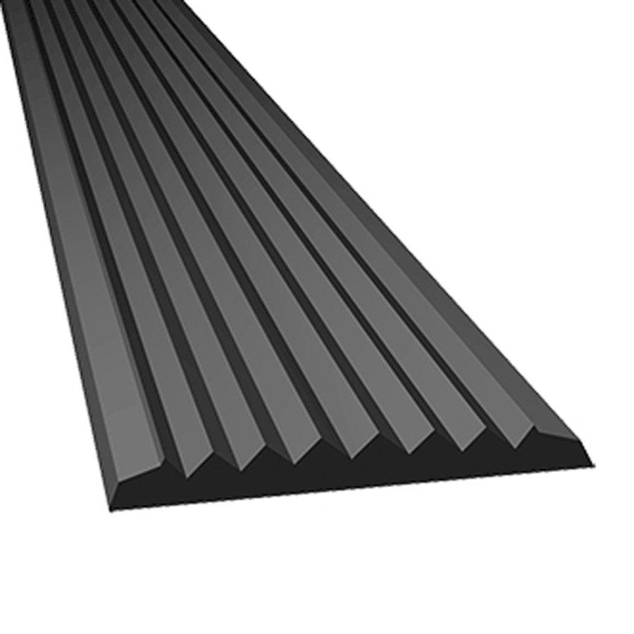 Šedá gumová protiskluzová schodová lišta - délka 5 m, šířka 4,7 cm a výška 0,45 cm