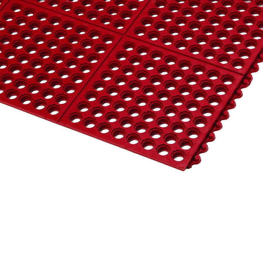 Červená gumová průmyslová olejivzdorná kuchyňská rohož Gastro - délka 91 cm a šířka 91 cm