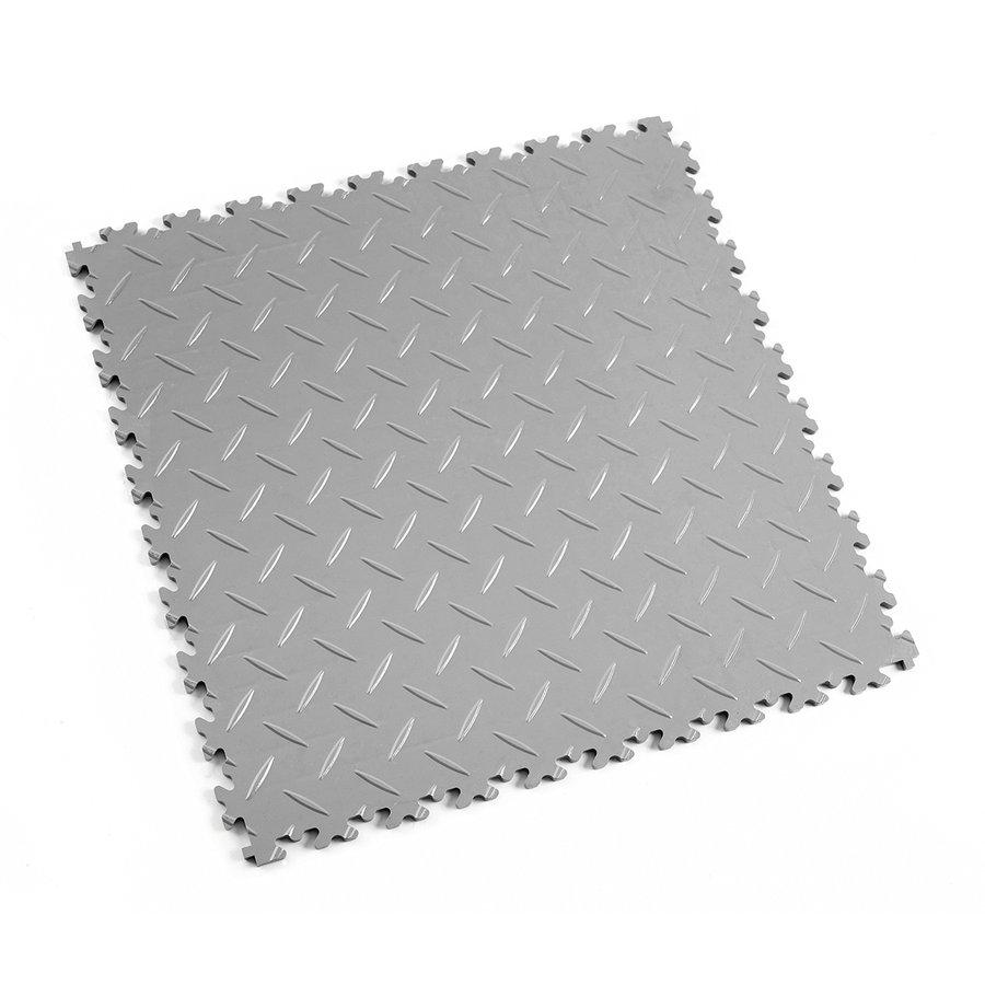 Šedá vinylová plastová zátěžová dlaždice Industry 2010 (diamant), Fortelock - délka 51 cm, šířka 51 cm a výška 0,7 cm