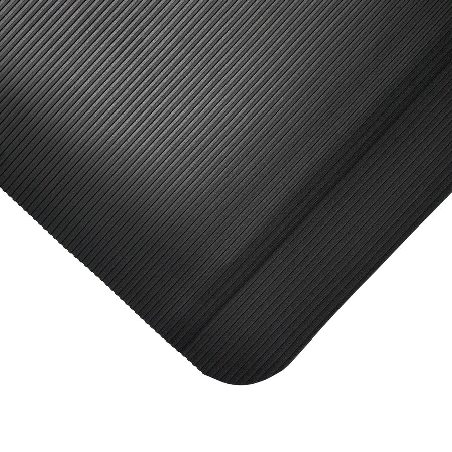 Černá gumová průmyslová protiúnavová metrážová rohož - šířka 90 cm a výška 1 cm