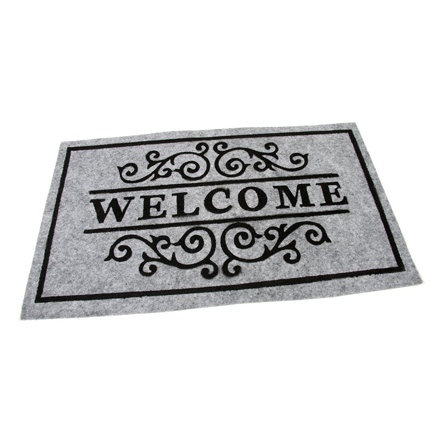 Šedá textilní vstupní čistící vnitřní rohož Welcome - Deco, FLOMA - délka 45 cm, šířka 75 cm a výška 0,3 cm