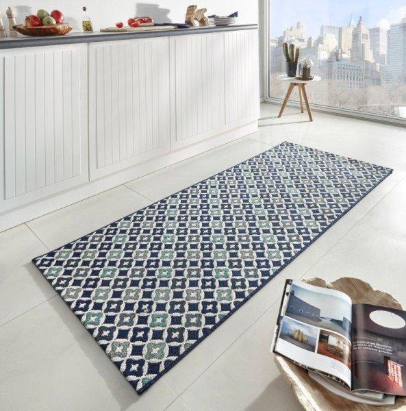 Modrý moderní kusový koberec běhoun Soho - délka 200 cm a šířka 80 cm