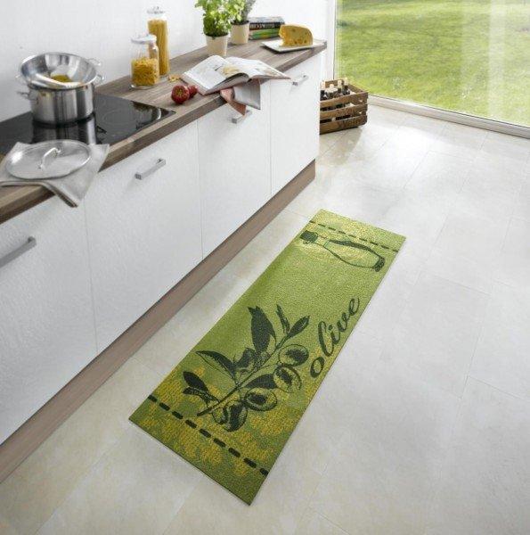 Zelená kuchyňská kusová moderní předložka Cook & Clean - délka 150 cm a šířka 50 cm