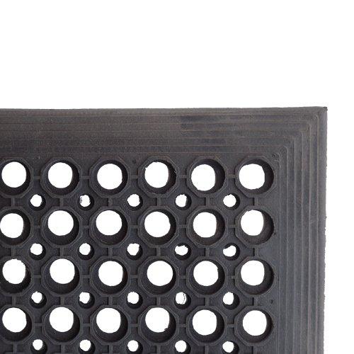 Černá gumová čistící venkovní vstupní rohož - délka 150 cm, šířka 90 cm a výška 1,4 cm