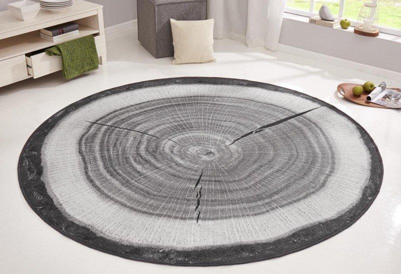 Šedý bytový kusový moderní kulatý koberec Bastia Special