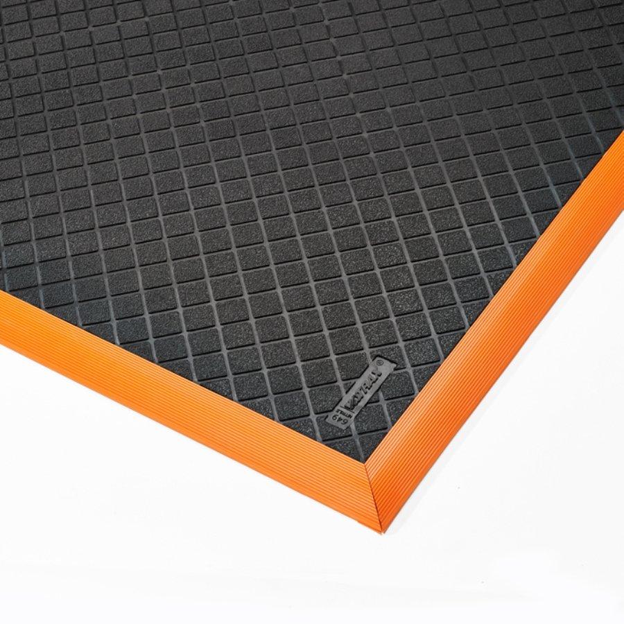 Černo-oranžová extra odolná průmyslová olejivzdorná rohož Safety Stance Solid - délka 163 cm, šířka 97 cm a výška 2 cm