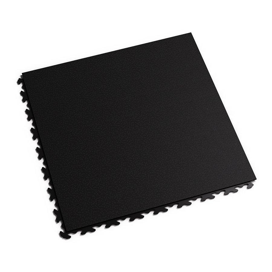 Černá vinylová plastová zátěžová dlaždice Invisible Eco 2030 (hadí kůže), Fortelock - délka 46,8 cm, šířka 46,8 cm a výška 0,67 cm