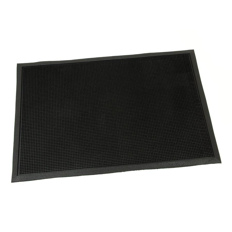 Gumová vstupní venkovní kartáčová čistící rohož Rubber Brush, FLOMAT - délka 90 cm, šířka 60 cm a výška 1,2 cm