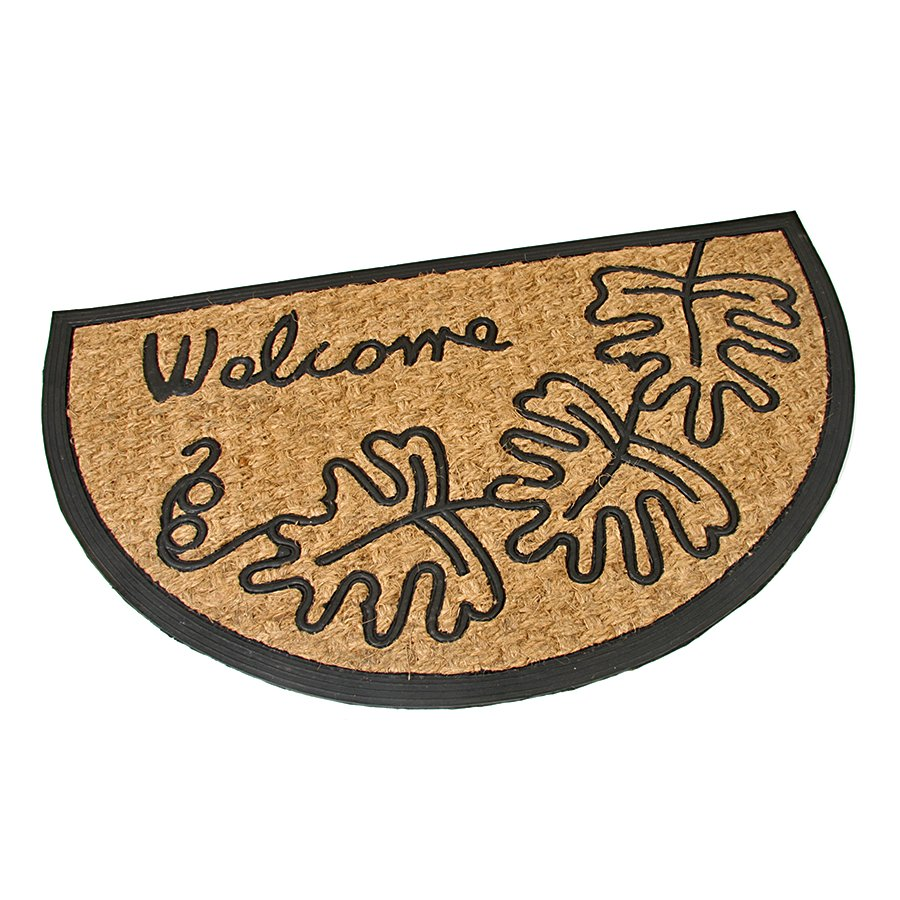 Kokosová čistící venkovní vstupní půlkruhová rohož Oak Leaves, FLOMA - délka 45 cm, šířka 75 cm a výška 0,8 cm