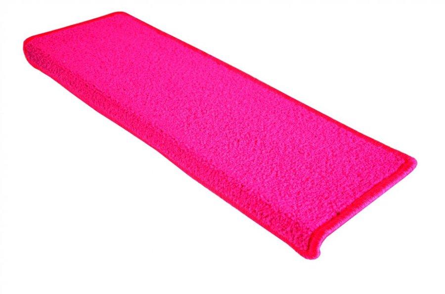 Růžový kobercový nášlap na schody Eton - délka 24 cm a šířka 65 cm