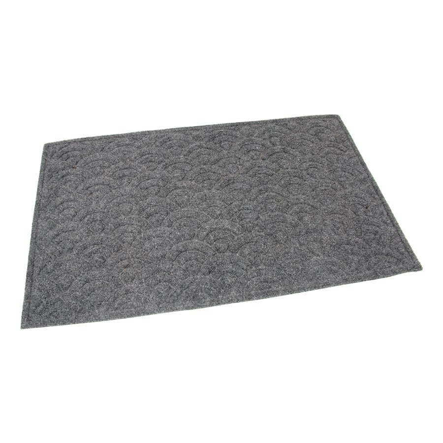 Šedá textilní čistící venkovní vstupní rohož Circles, FLOMAT - délka 75 cm, šířka 45 cm a výška 1 cm