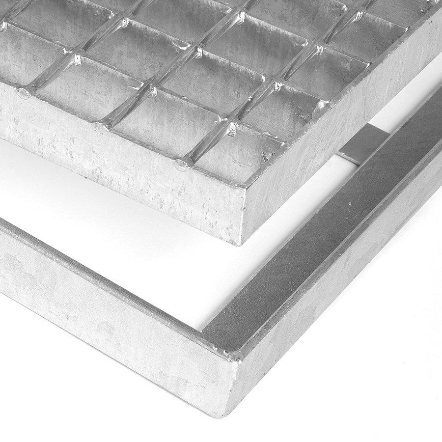 Kovová ocelová čistící venkovní vstupní rohož ze svařovaných podlahových roštů bez gumy s pracnami Galva, FLOMAT - výška 3,5 cm