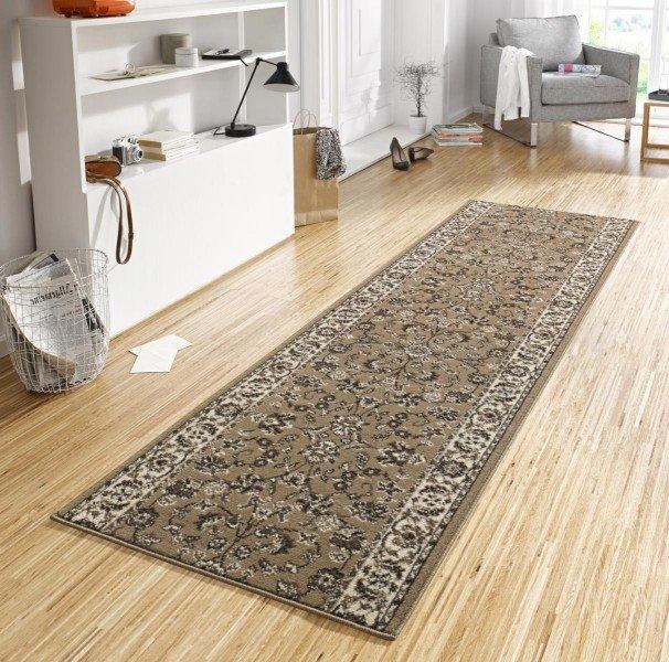 Hnědý orientální kusový koberec běhoun Basic - délka 400 cm a šířka 80 cm