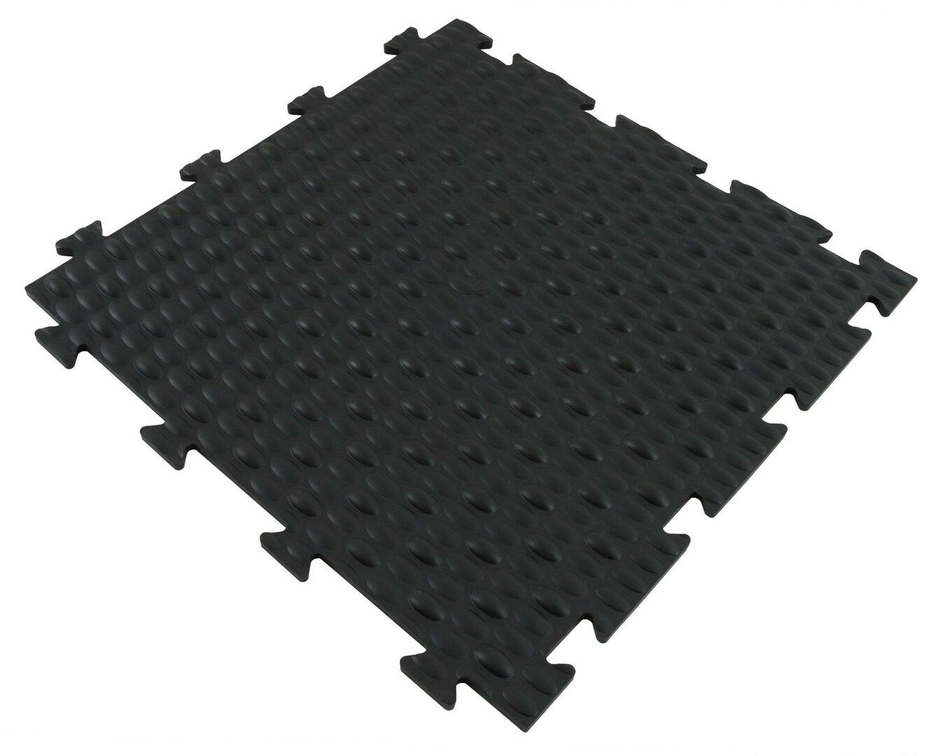 Černá PVC vinylová zátěžová puzzle protiúnavová dlaždice Tenax - 50 x 50 x 0,8 cm