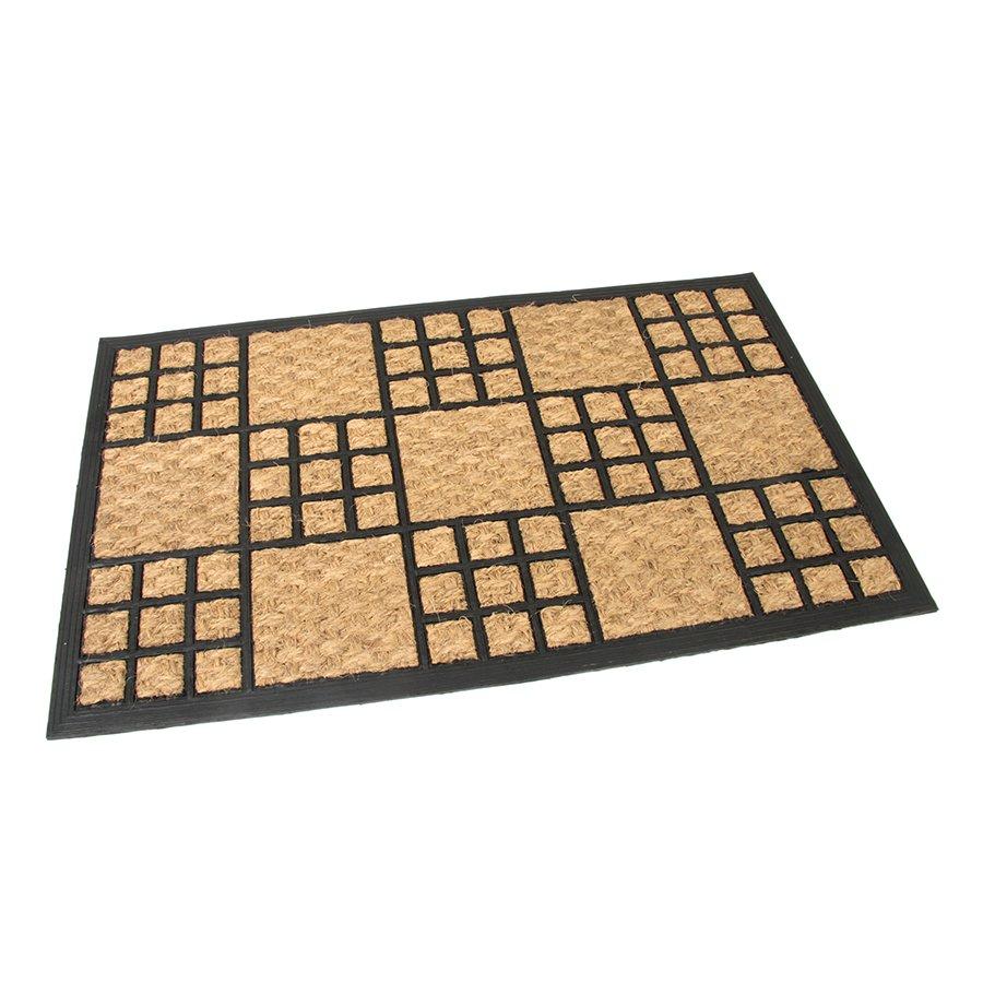 Kokosová čistící venkovní vstupní rohož Square Mix, FLOMAT - délka 45 cm, šířka 75 cm a výška 1 cm