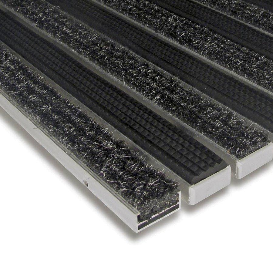 Textilní gumová hliníková vnitřní vstupní rohož Alu Standard, FLOMAT - výška 1,7 cm