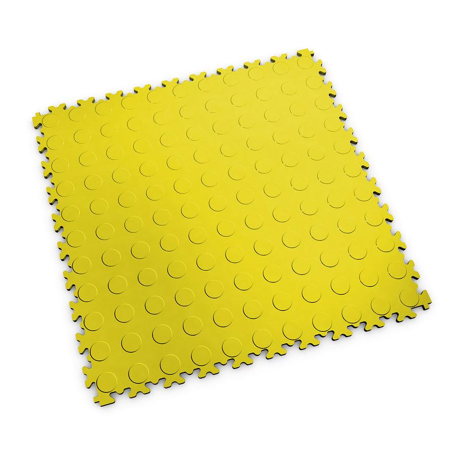 Žlutá vinylová plastová zátěžová dlaždice Industry 2040 (penízky), Fortelock - délka 51 cm, šířka 51 cm a výška 0,7 cm