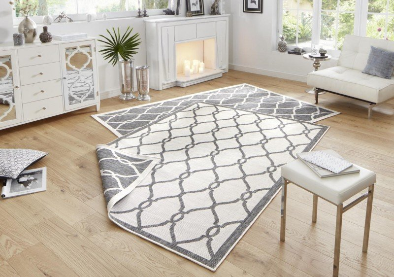 Šedý moderní oboustranný kusový koberec běhoun Twin-Wendeteppiche - délka 350 cm a šířka 80 cm