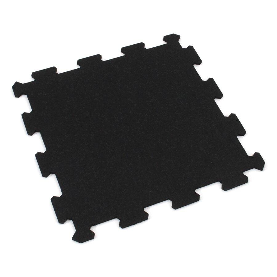 Černá gumová modulová puzzle dlažba (střed) FLOMA FitFlo SF1050 - 47,8 x 47,8 x 0,8 cm
