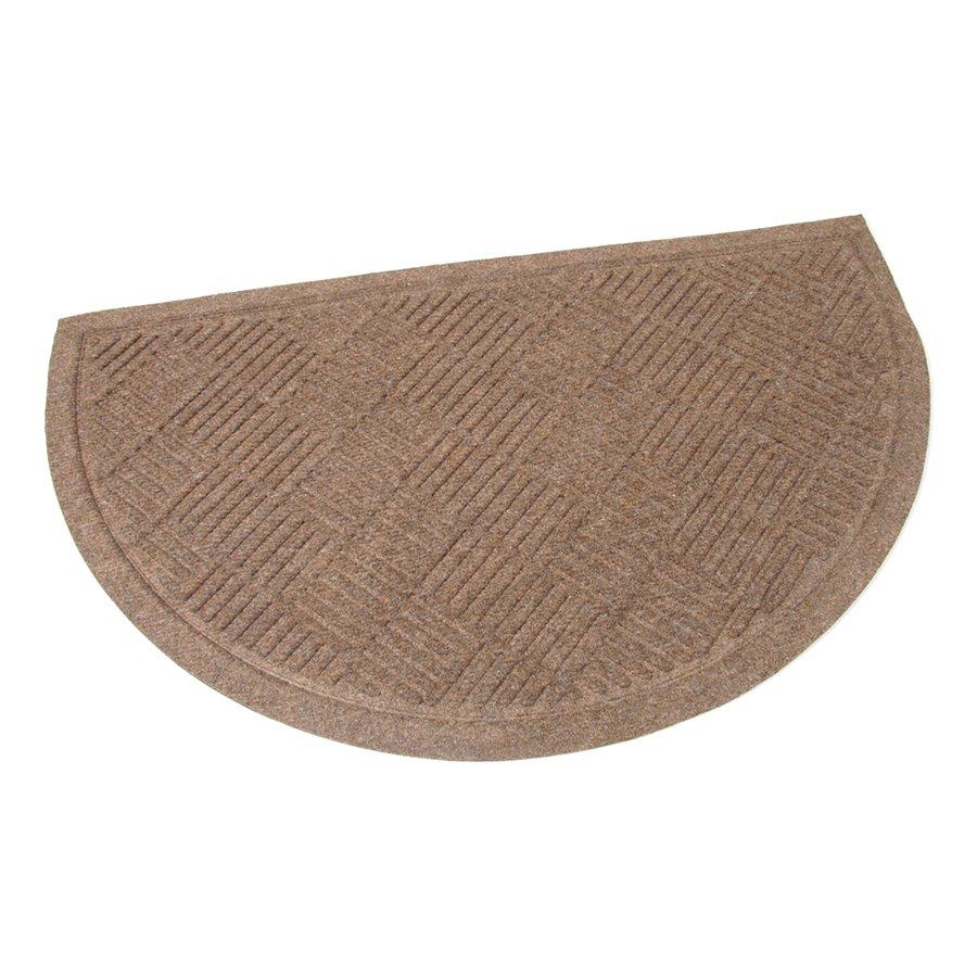 Hnědá textilní čistící venkovní vstupní půlkruhová rohož Crossing Lines, FLOMAT - délka 75 cm, šířka 45 cm a výška 0,8 cm