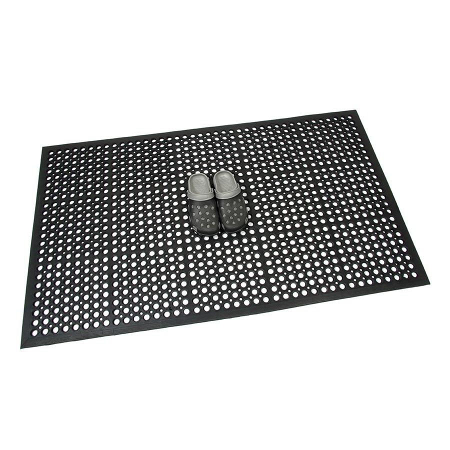 Černá gumová průmyslová protiúnavová protiskluzová olejivzdorná rohož (75% nitrilová pryž) Workmate, FLOMAT - délka 90 cm, šířka 150 cm a výška 1,4 cm