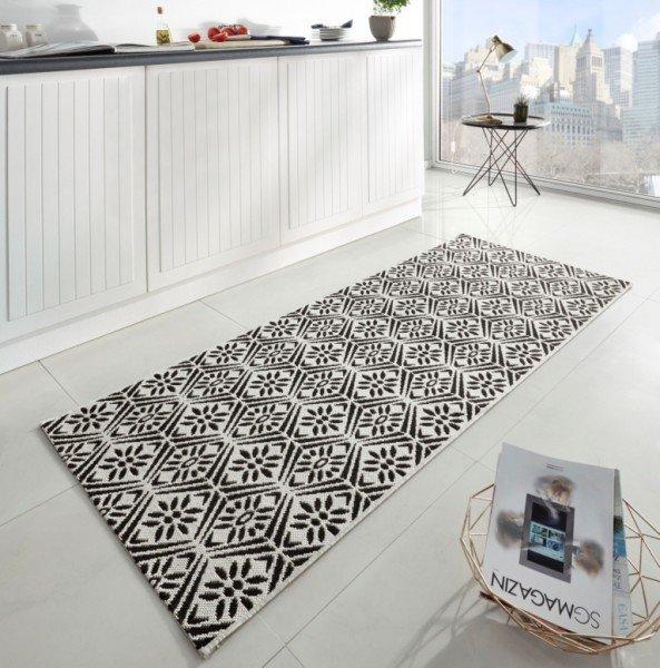 Černý moderní kusový koberec běhoun Soho - délka 200 cm a šířka 80 cm
