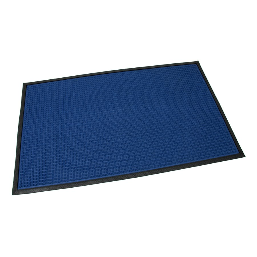 Modrá textilní gumová čistící vstupní rohož Little Squares, FLOMA - délka 90 cm, šířka 150 cm a výška 0,8 cm