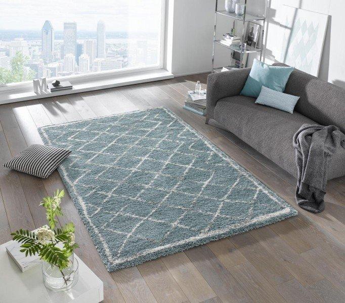 Modrý kusový moderní koberec Grace