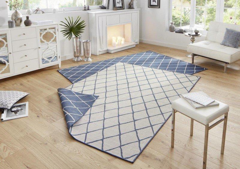 Modrý moderní oboustranný kusový koberec běhoun - délka 350 cm a šířka 80 cm