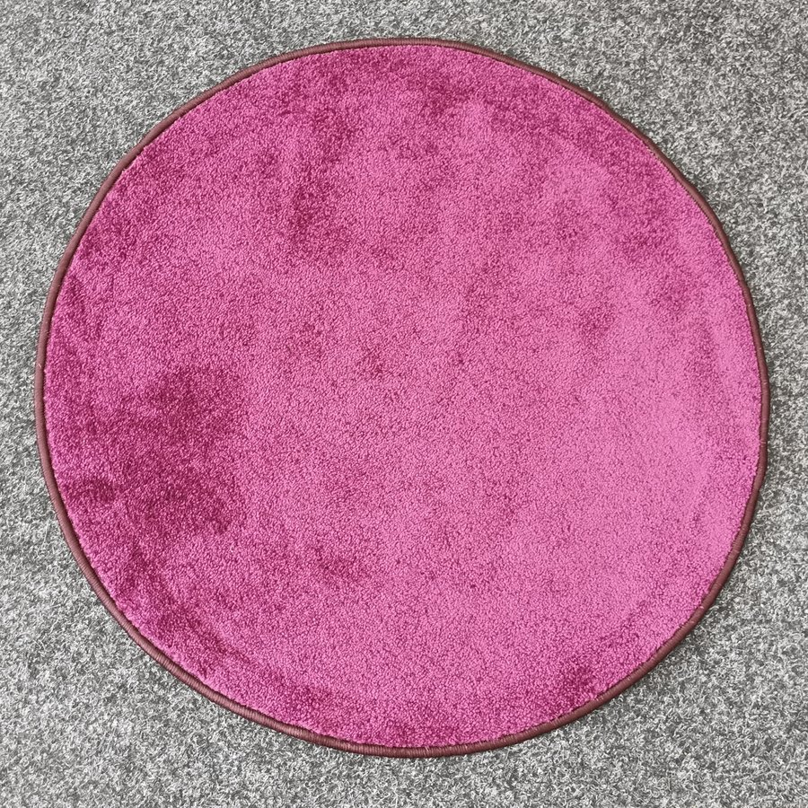 Růžový kusový kulatý koberec Eton - průměr 160 cm